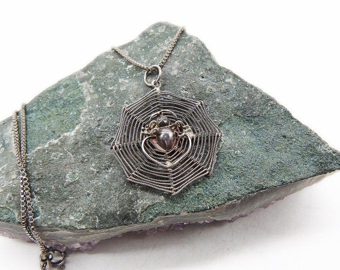 Vintage Victorian Revival Sterling Silver chain handcrafted antique Spider Web complete with Spider pendant Necklace