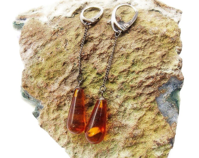 Vintage Art Deco delicate Sterling Silver chain tear drop Baltic Amber signed lever back drop earrings