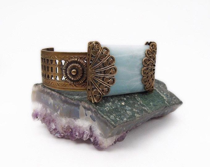 Jan Michaels of San Francisco vintage retired ornate brass filigree Marbled Mint Green Amazonite signed designer Cuff Bracelet