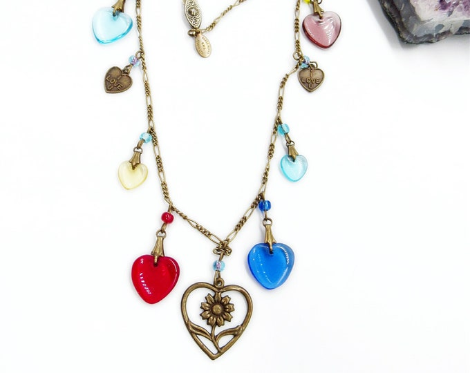 Glass Works Studio Ltd vintage circa 1980s glass and antiqued brass hearts signed charm necklace