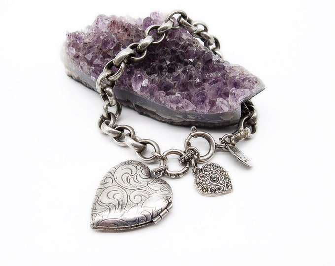 Catherine Popesco of France Victorian style retired silver plated signed Charm bracelet