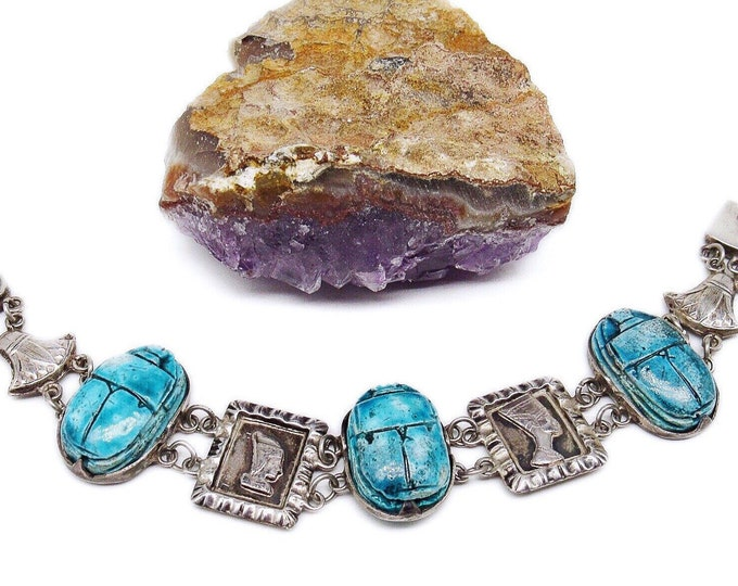 Gorgeous vintage Egyptian Revival Sterling Silver Hieroglyphic Turquoise Faience Scarab signed Link Bracelet