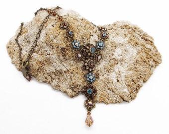 d79d4c971 Liz Palacios of San Francisco Vintage antiqued brass tone brilliant faceted  Swarovski Crystal signed Lariat necklace
