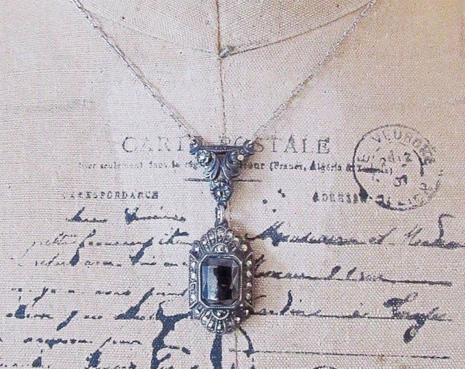 Antique Edwardian Sterling Silver Filagree Paper Clip Chain  faceted genuine Hematite Marcasite accented Necklace