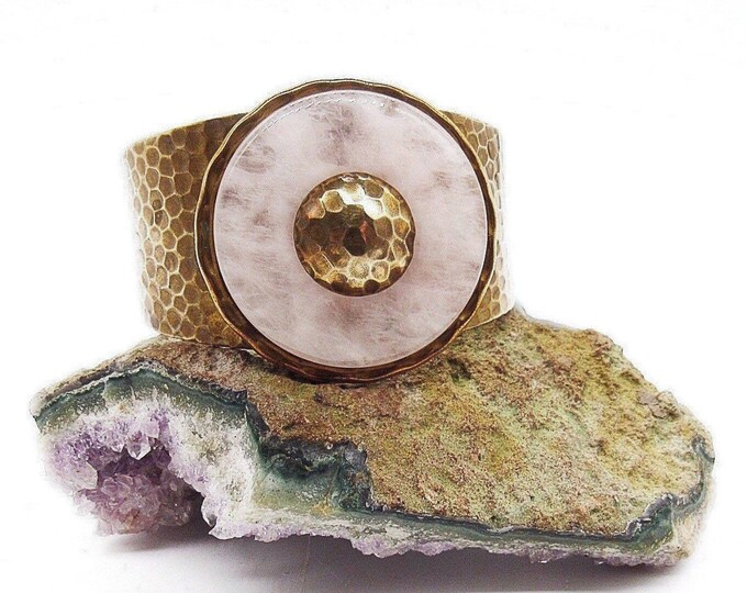 Jan Michaels of San Francisco Art Deco style retired circular Rose Quartz stone antiqued hammered brass signed cuff bracelet