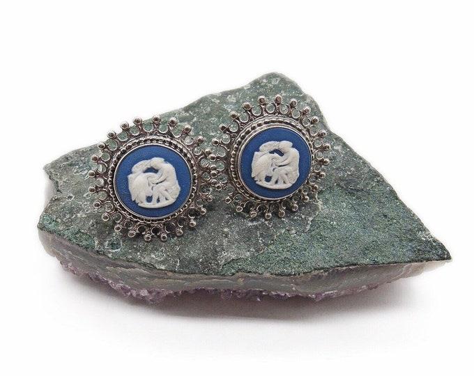 Vintage Wedgwood decorative Sterling Silver Blue Jasperware Cameo signed pierced earrings