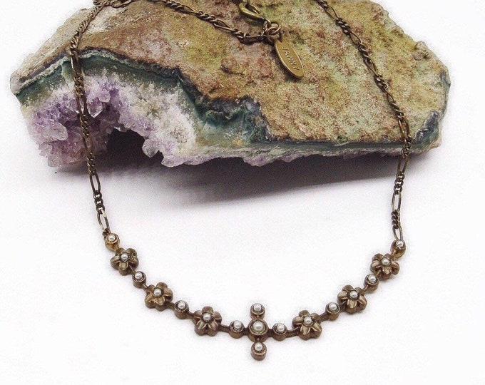 Vintage Janny Edwardian revival antiqued brass tone Seed Pearl bead decorative signed necklace