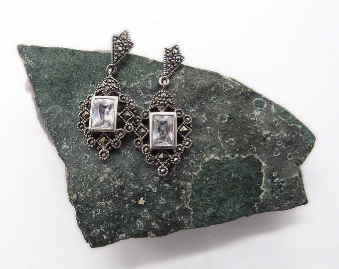 Vintage Sterling Silver Marcasite faceted CZ accented signed drop earrings