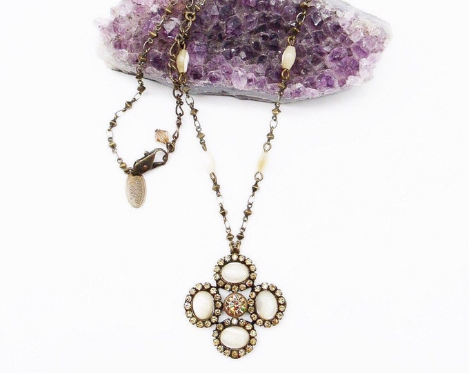 Vintage 1980s -90s retired Liz Palacios antiqued bronze tone Swarovski Crystal signed pendant necklace