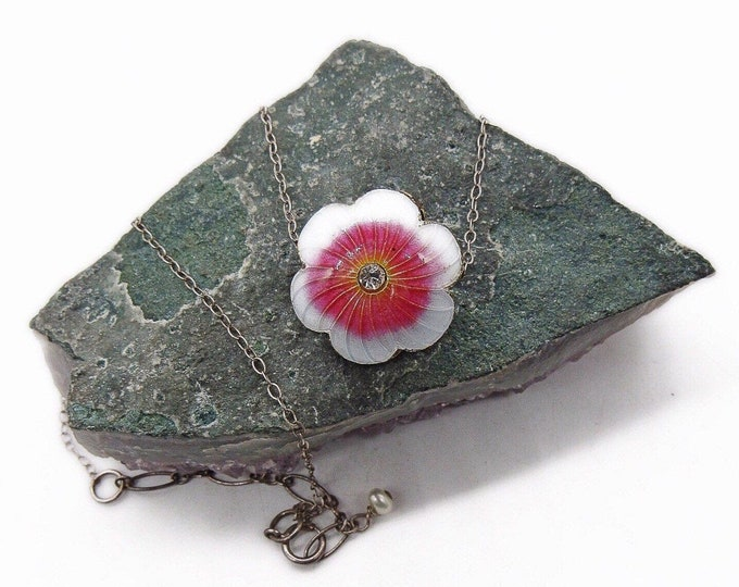 Vintage Sterling Silver handcrafted Gold Vermeil Guilloche Enamel faceted Crystal Flower pendant Necklace