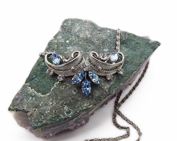 Van Dell vintage sterling silver filigree faceted crystal signed necklace