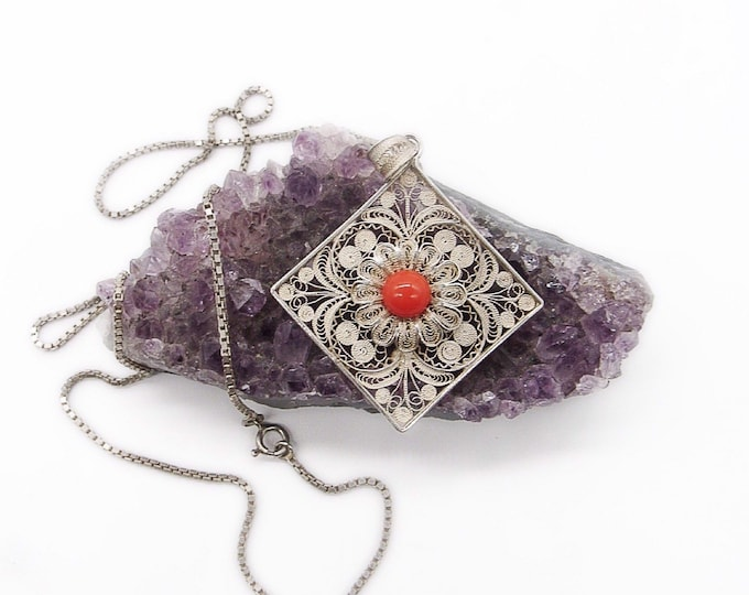 Vintage ornately detailed 800 Spun Silver red coral glass cabochon 1930s signed pendant necklace