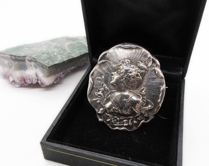 Antique Sterling Silver Victorian 1890s-1900s signed decorative Woman Portait Brooch