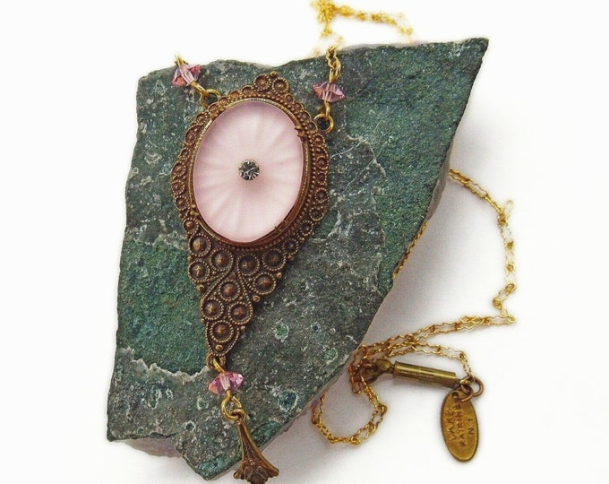 Pididdly Links Ltd Lake Katrine NY vintage Victorian Revival antiqued brass tone Blush Pink Crystal accented Camphor Glass designer pendant