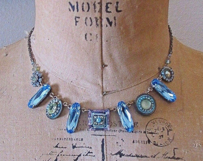 Gorgeous Vintage Firefly signed antiqued Steel faceted Austrian and Swarovski Crystal Czech Glass Embellished Mosaic Bib Necklace