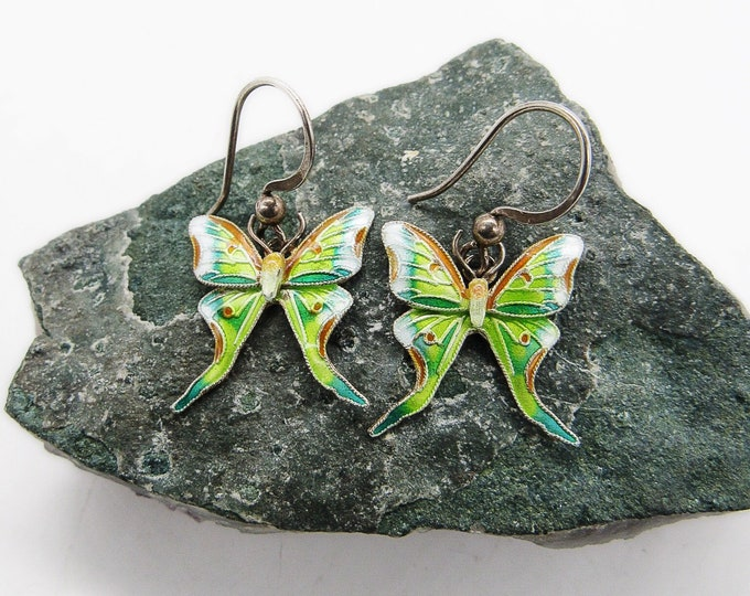 Shashi 1970s vintage Cloisonné Enamel Sterling Silver Butterfly earrings