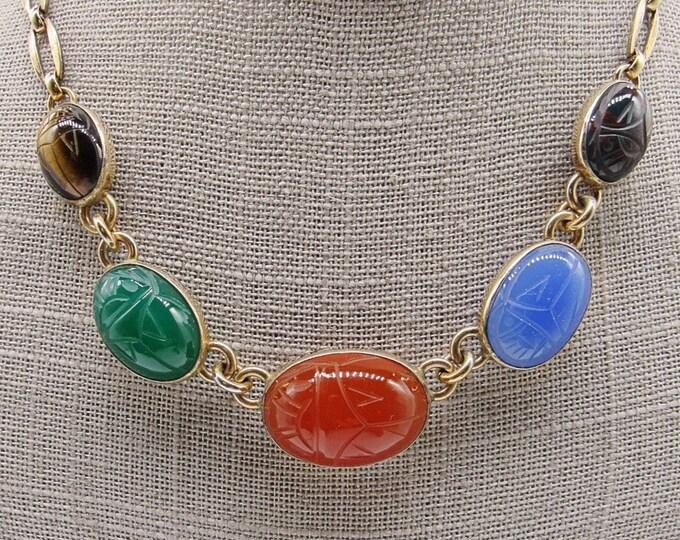 1940s vintage Symmetalic Sterling 14k gold fill Scarab semi precious signed choker necklace