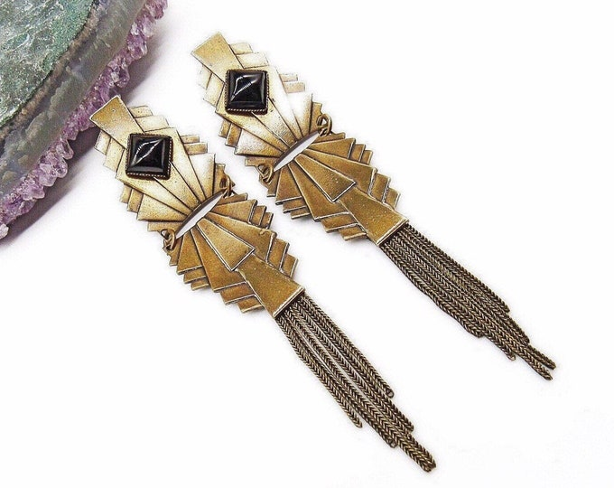 Vintage Jan Michaels San Francisco Art Deco revival antiqued Brass faceted Jet Black Glass cabochon signed statement Earrings