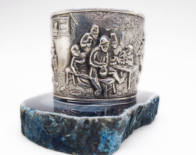 "Vintage 1970s Jorgen Th Steffenson Repousse sterling silver plated ""Village Tavern scene"" Repousse signed cuff bracelet"