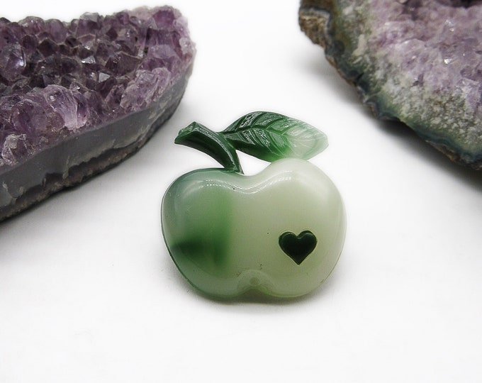 Authentic Léa Stein vintage rhidoid plasic signature Apple with heart signed brooch