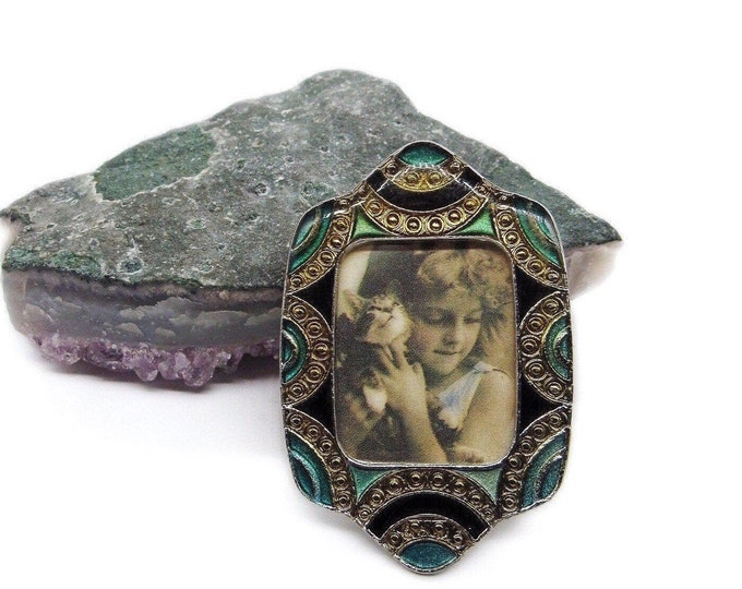 Vintage LMC 1980s Art Deco Revival gold accented Emerald green and Jet Enamel signed Picture frame Brooch