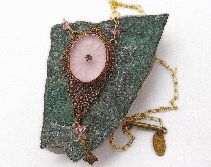 Pididdly Links Ltd Lake Katrine NY vintage Victorian Revival antiqued brass tone Blush Pink Crystal accented Camphor Glass designer pendant