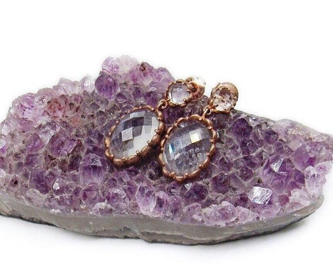 Brilliant vintage Gold Vermeil Sterling Silver faceted Rock Quartz Crystal elegant signed dangle Earrings
