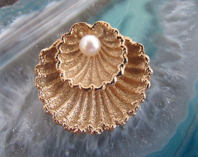 Beautiful vintage signed Napier Sterling silver seashell and pearl brooch FREE SHIPPING !