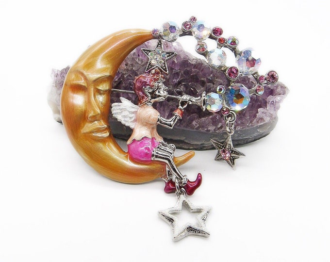 "Retired Kirks Folly ""Pipe Dream Fairy"" silver tone Aurora Borealis crystal enamel crescent moon signed dangle brooch ! Magical ! FREE SHIP!!"
