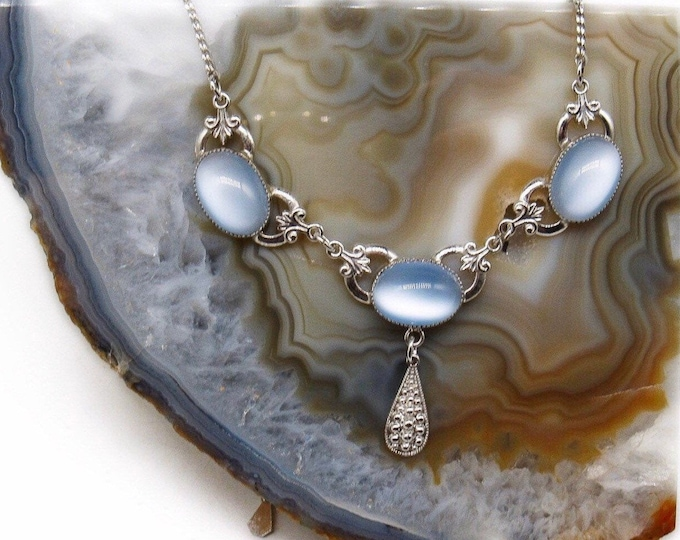 Signed Micallef AMCO vintage Art Deco Sterling Silver opalescent Baby Blue Moonstone Cabochon Mid Century Bib Necklace