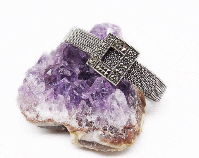 Judith Jack vintage Sterling Silver faceted Marcasite accented signed Designer Mesh Bracelet
