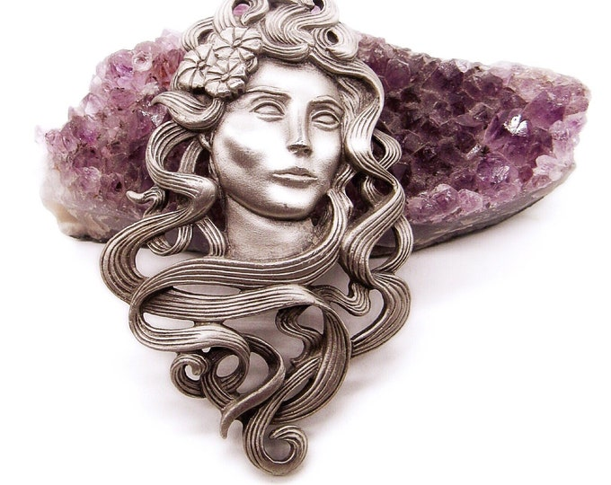 Vintage JJ Jonette Jewelry circa 1988 Art Nouveau Womens bust pewter signed statement brooch