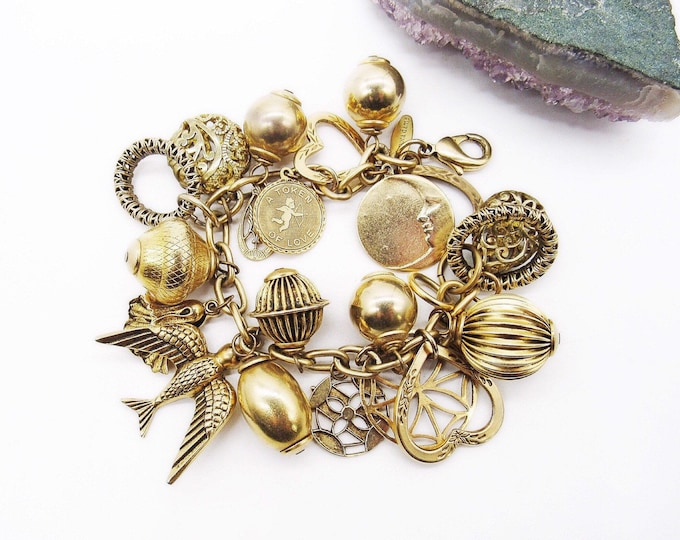 Vintage retired Lenora Dame bold and beautiful handcrafted antiqued brass Victorian revival signed charm bracelet