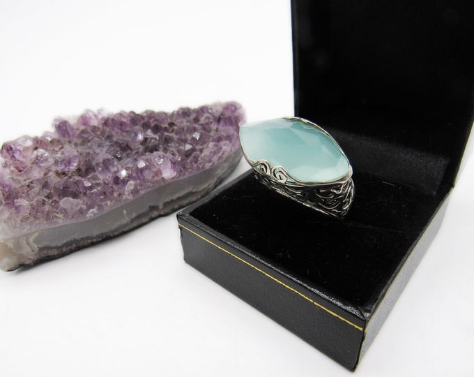 Vintage Estate Sterling Silver faceted Chalcedony decorative scroll work signed statement ring