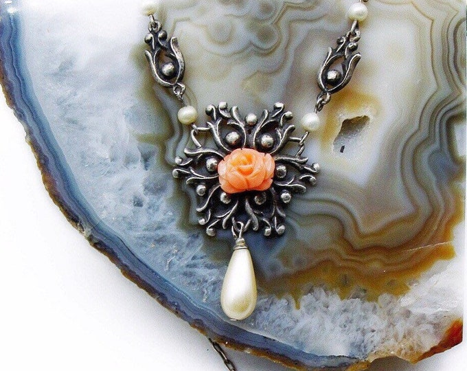 Antique Arts and Crafts Sterling Silver genuine Coral carved Rose glass Pearl accented decorative Lavaliere Necklace