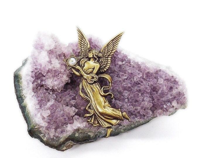 JJ Jonette vintage antiqued brass winged Angel Aurora Borealis accented signed brooch