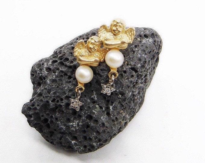 Vintage CARLA 14K Gold Cultured Pearl faceted petite Diamond signed Cherub Star dangle earrings