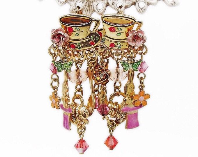 Kirks Folly Whimsical vintage Alice in Wonderland Tea Cup golden tone faceted Swarovski Crystal Enamel signed Designer Earrings