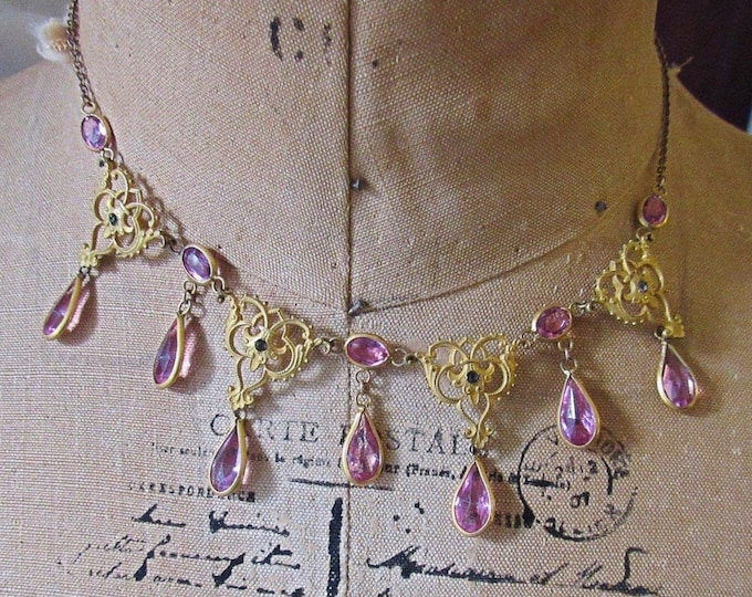 Antique Estate Victorian circa 1890-1910s ornate gold plated Amethyst glass paste beautiful bib necklace