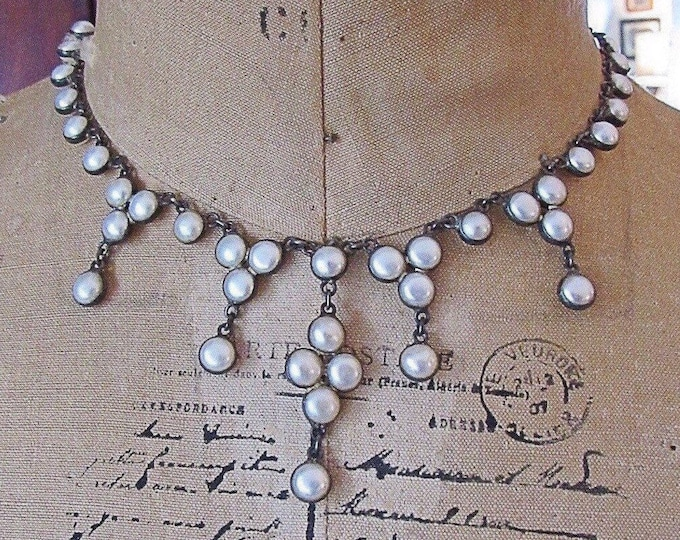 Gorgeous vintage Oxidized Sterling Silver cascading Freshwater Coin Pearl accented signed Bib Necklace