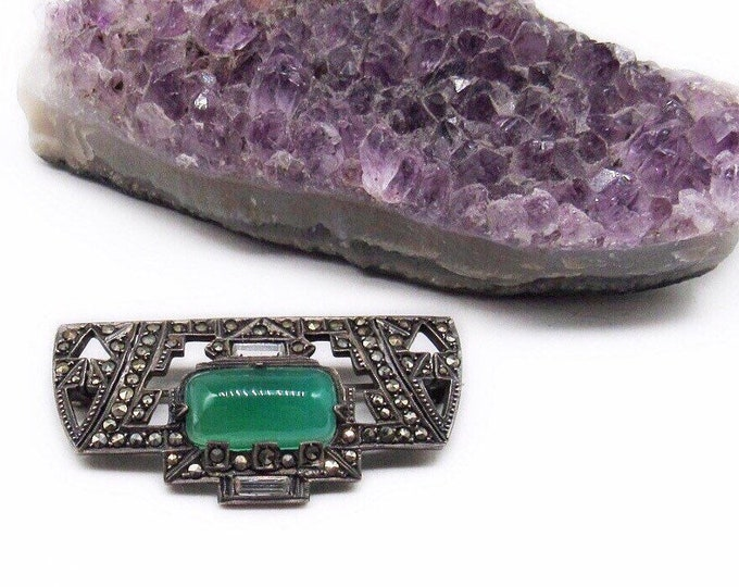 German vintage Art Deco Sterling Silver Marcasite Luminous Chrysoprase Cabochon signed 1930s Brooch