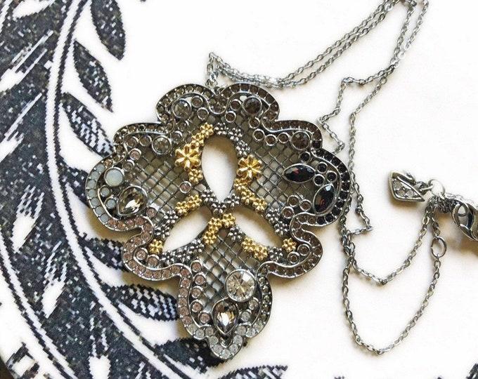 Vintage Swarovski signed vintage Art Deco style faceted Crystal accented designer pendant Necklace
