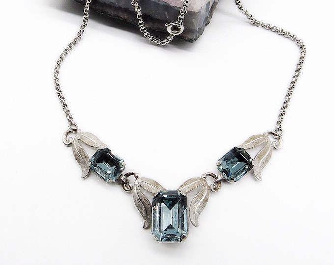 Vintage Van Dell mid century circa 1940s-50s sterling silver and blue Topaz glass signed necklace