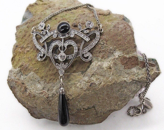 Vintage Victorian Revival Dutch Silver Sterling Silver faceted Crystal with Onyx signed Bib Necklace