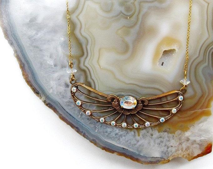 Rare! Pididdly Links Ltd vintage Art Deco Revival antiqued Brass tone faceted Aurora Borealis Crystal signed Designer Necklace
