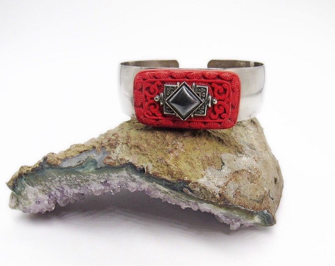 Jan Michaels of San Francisco vintage retired Art Deco silver tone carved Cinnabar with Hematite signed statement cuff bracelet