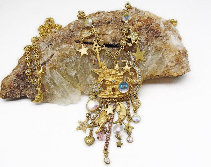 Vintage early Kirks Folly brilliant Matte Gold faceted Aurora Borealis Crystals Fairy Pixie Palace with Moon signed Rare necklace