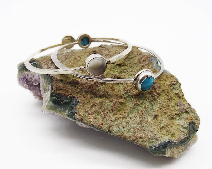 Rebecca Norman vintage retired handcrafted Sterling Silver Rock Crystal & Turquoise singed bangle bracelets