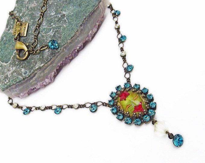 Konplott by Miranda KO vintage antiqued Brass tone Carved Glass Cabochon faceted Rhinestone Designer Necklace