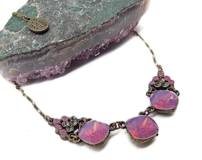 Vintage Anne Koplik Designs antiqued Brass tone faceted Pink Sea Opal and Peridot Rhinstone signed Designer Necklace